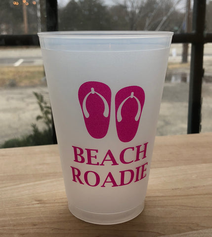 Beach Roadie Flip Flops Frost Flex Shatterproof Cups-Set of 10