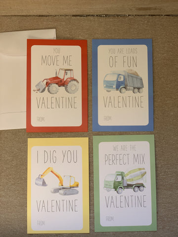 Construction Trucks Valentine's Day Kids Cards with Envelopes