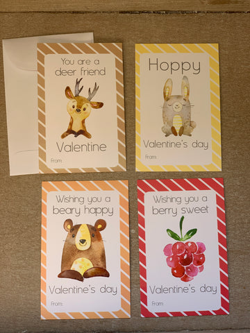 Woodland Animals Valentine's Day Kids Cards with Envelopes