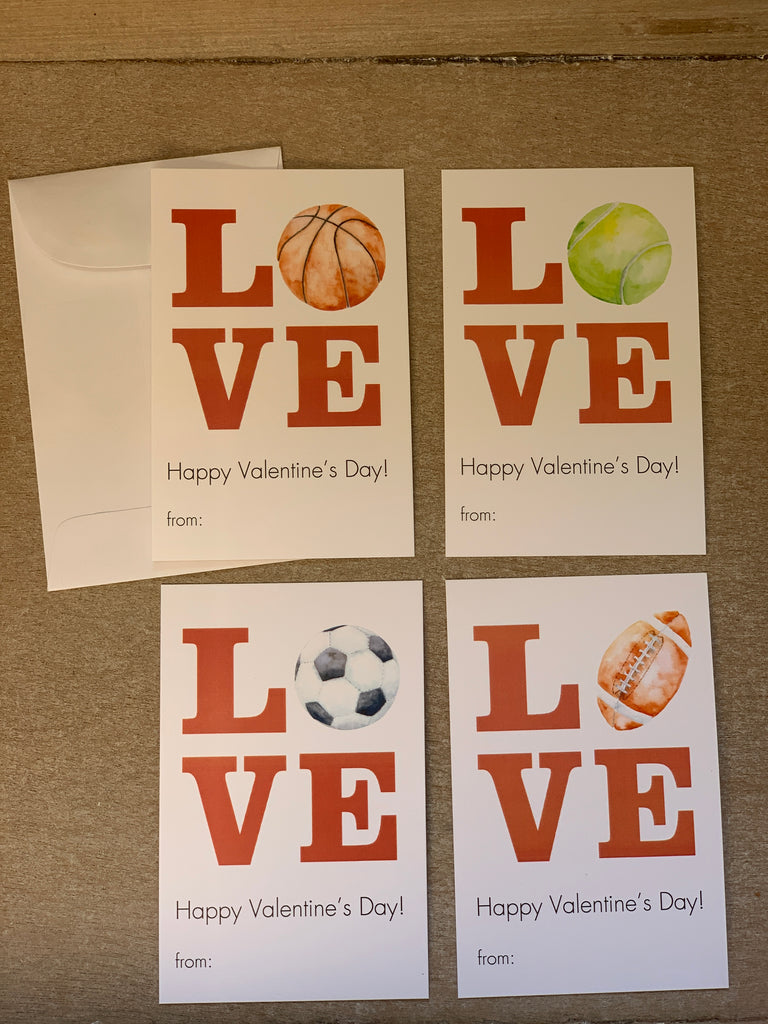 Love Sports (Basketball, Football, Soccer, Baseball, Tennis) Valentine's Day Kids Cards with Envelopes