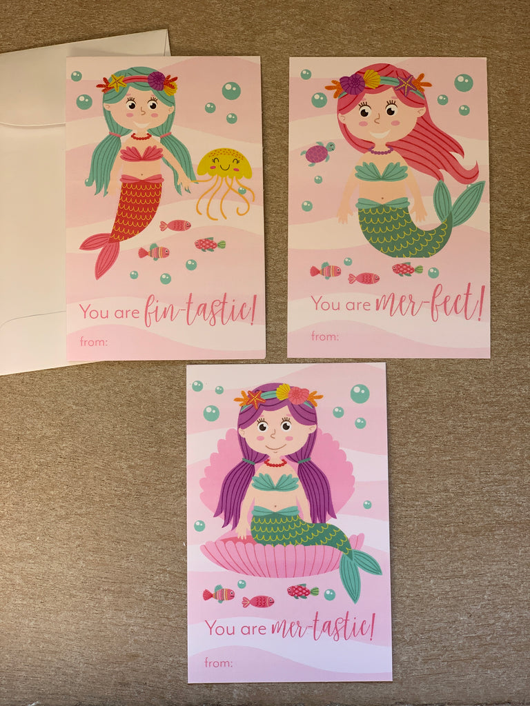 Mermaid Valentine's Day Kids Cards with Envelopes