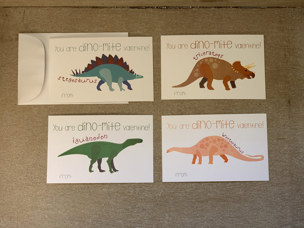 Dinosaur Valentine's Day Kids Cards with Envelopes
