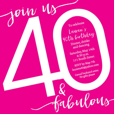 Hot Pink Adult Birthday Invitation
