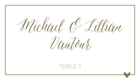 Gold Script Wedding Place Cards