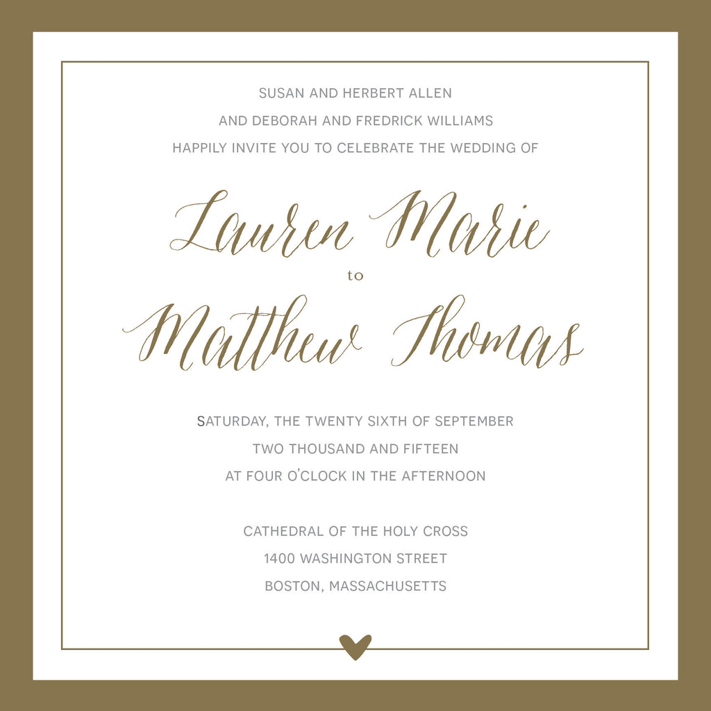 Square Gold Border Wedding Invitation