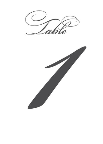 Script Wedding Table Numbers