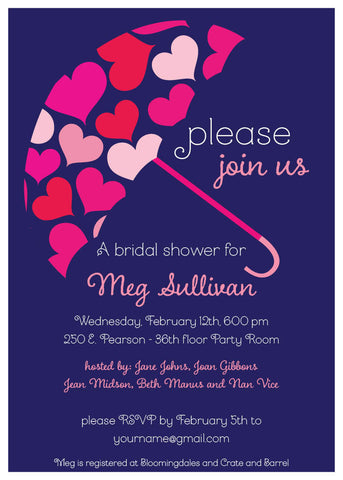 Umbrella Bridal Shower Invitation
