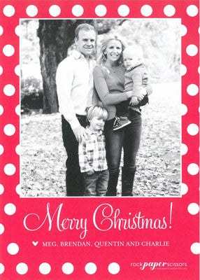553 Merry Christmas Polka Dot Holiday Card