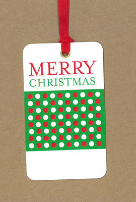 Polkadot Merry Christmas Green and Red Say Anything Holiday Gift Wine Tags