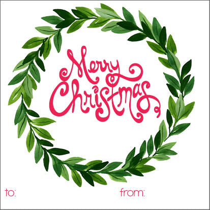 Merry Christmas Wreath Holiday Gift Sticker