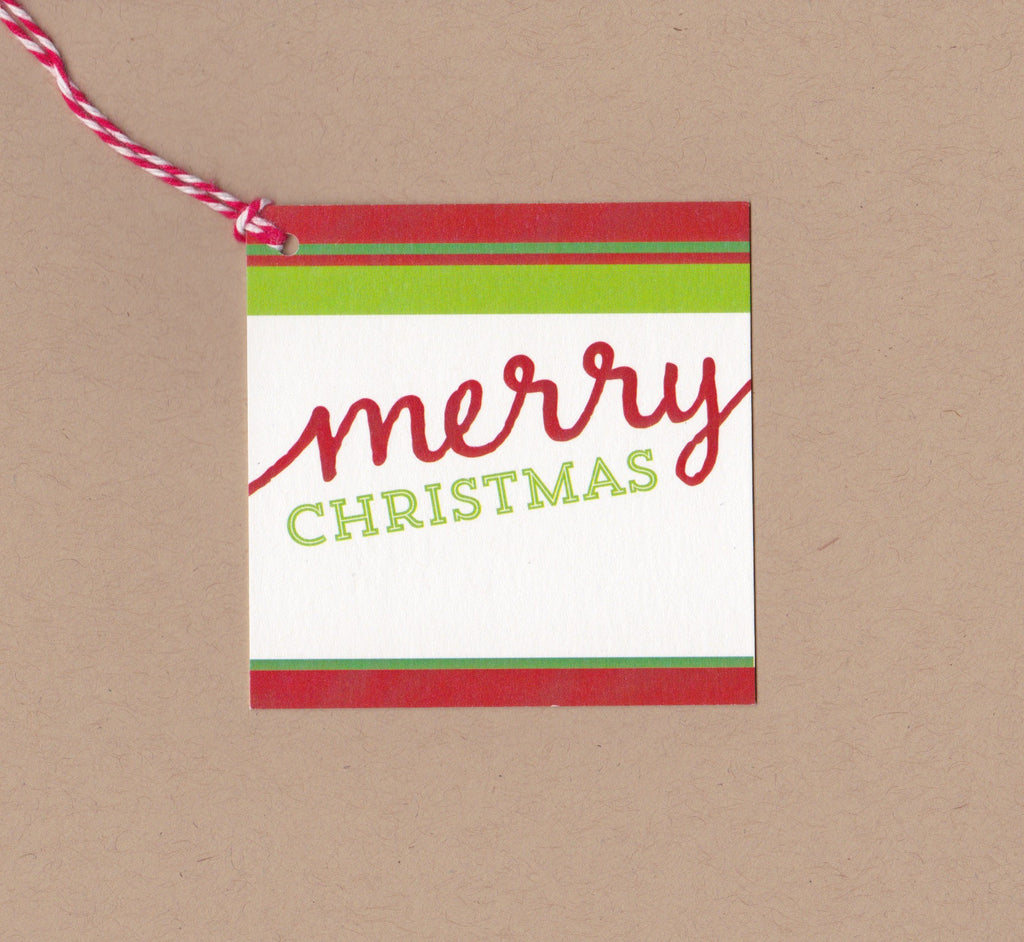 Multi Stripe Merry Christmas Mini Say Anything Holiday Gift Wine Tags