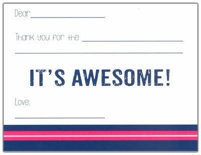 Navy and Pink Finlay Kids Fill-in-the-blank Stationery