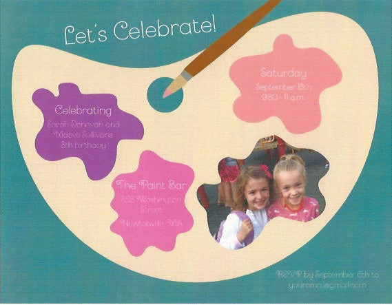 Painting Kids Birthday Party Invitation