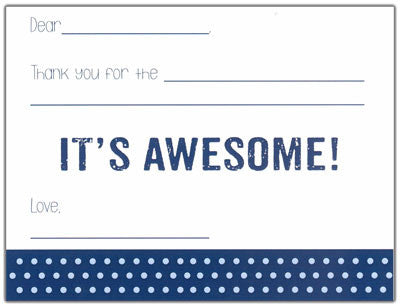 Navy Bottom Polk-a-dot Fill-in-the-blank Stationery