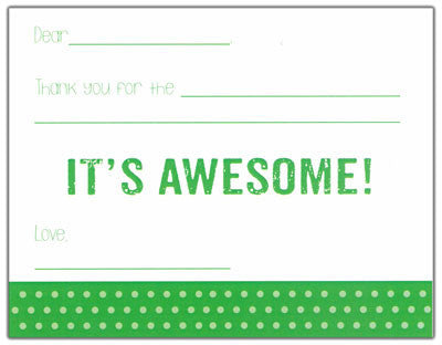 Green Polk-a-dot Fill-in-the-blank Stationery