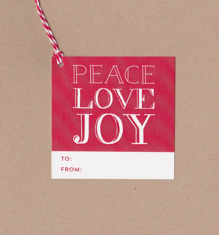 Peace Love Joy Mini Say Anything Holiday Gift Wine Tags