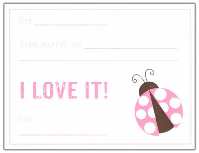 Pink Ladybug Kids Fill-in-the-blank Stationery