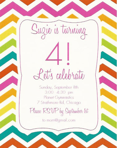 Rainbow Chevron Kids Birthday Invitation
