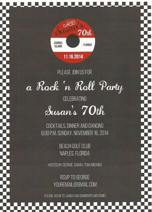 Rock 'n Roll Adult Birthday Invitation