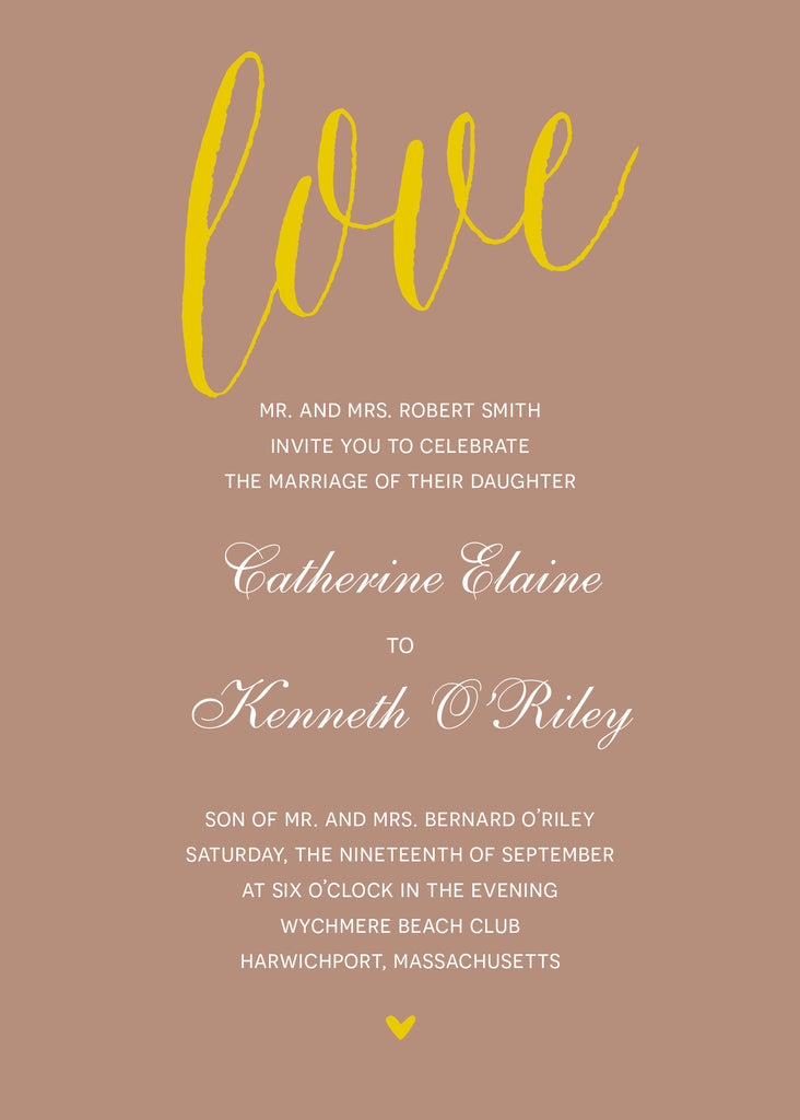 Modern Script Gold Wedding Invitation