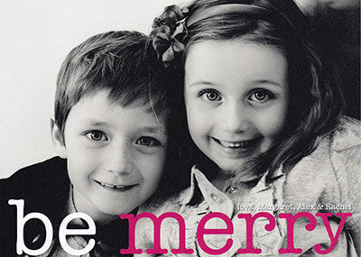 502 Be Merry Pink Photo Holiday Card