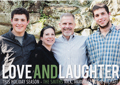 519 Love and Laughter Plaid Photo Holiday Card