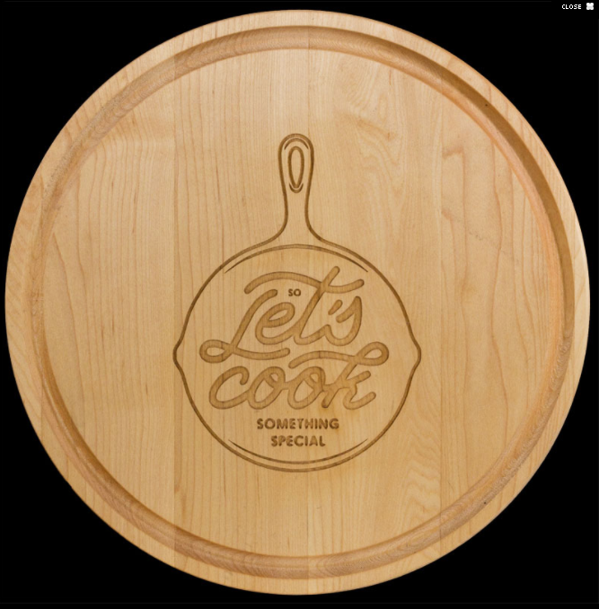 "10.5"" Round Personalized Maple Cutting/Serving Board"