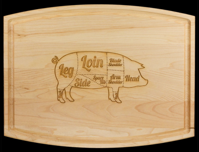 "12""x9"" Groove Personalized Maple Cutting/Serving Board"