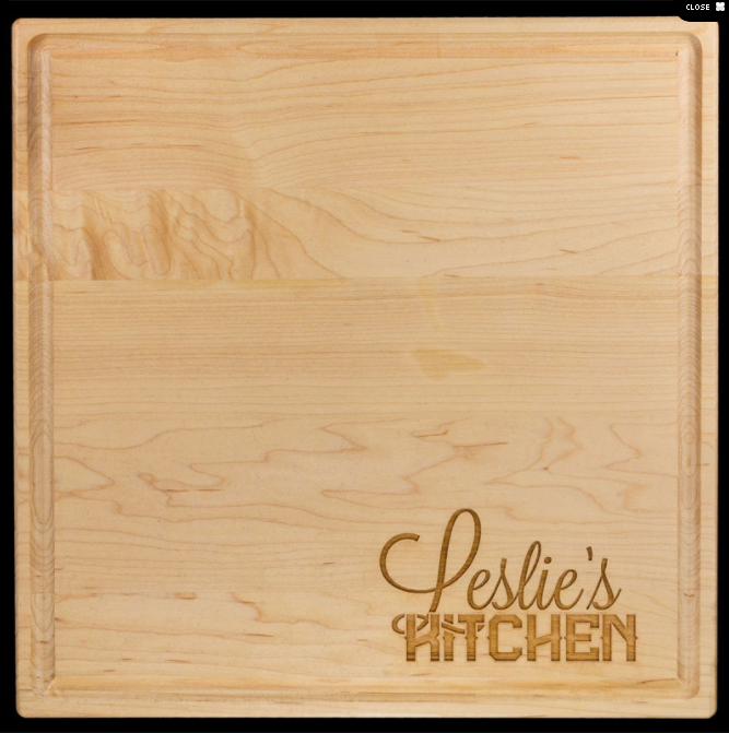 "12""x12"" Square Personalized Maple Cutting/Serving Board"
