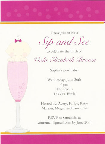 Sip and See Polka Dot Baby Shower Invitation