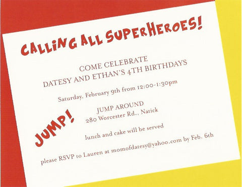 Superheroes Kids Birthday Party Invitation