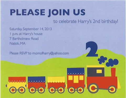 Train Kids Birthday Party Invitation