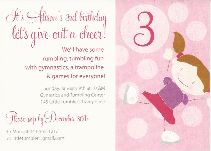 Gymnastics Kids Birthday Party Invitation Rockpaperscissors Needham
