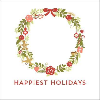 Wreath Holiday Gift Sticker