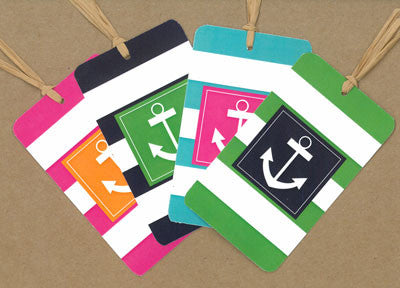 Anchor Striped Say Anything Gift/Wine Tags