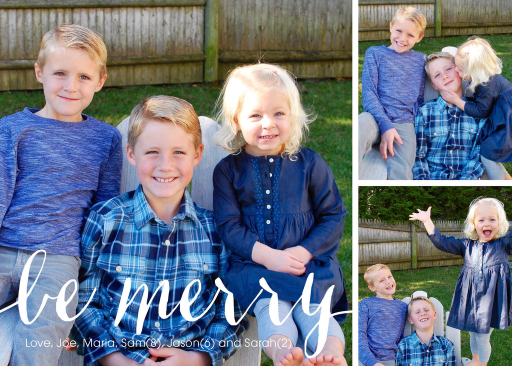 916 Be Merry Three Photo Holiday Card