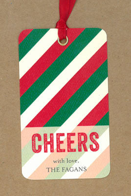 Red and Green Cheers Say Anything Holiday Gift Wine Tags