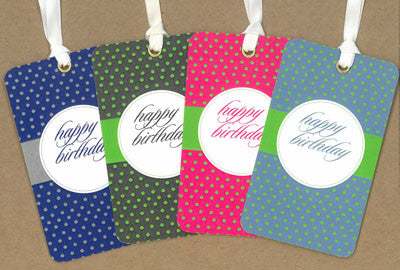 Happy Birthday Polk-a-dot Say Anything Gift/Wine Tags