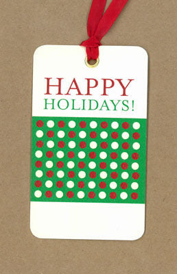 Polkadot Happy Holidays Green and Red Say Anything Holiday Gift Wine Tags