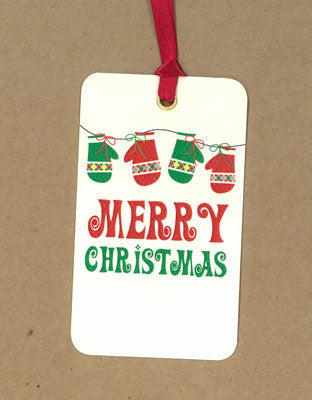 Merry Christmas Mittens Say Anything Holiday Gift/Wine Tags