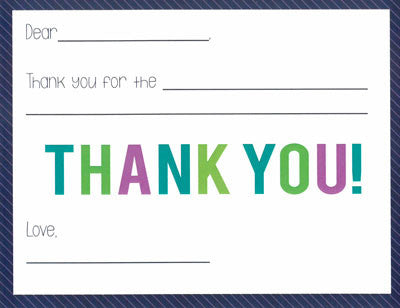 Navy Candy Stripe Kids Fill-in-the-blank Stationery