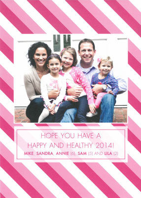 565 Pink and White Merry Christmas Holiday Card