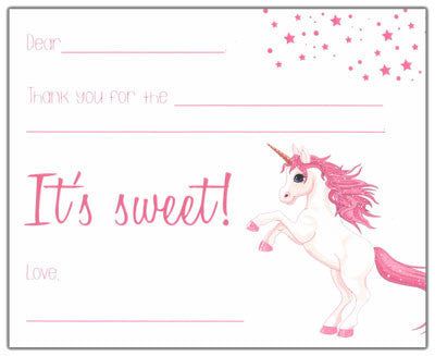 Pink Unicorn Kids Fill-in-the-blank Stationery