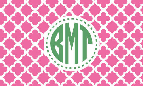 Quatrefoil Monogram Dotted Personalized Bag Tag