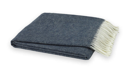 Navy Blue Italian Herringbone Throw