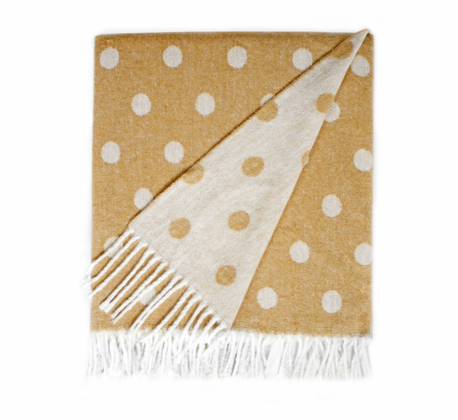 Caramel Dots and Stars Italian Reversible Jacquard Throws