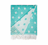 Aqua Dots and Stars Italian Reversible Jacquard Throws