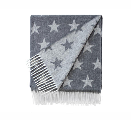 Charcoal Dots and Stars Italian Reversible Jacquard Throws