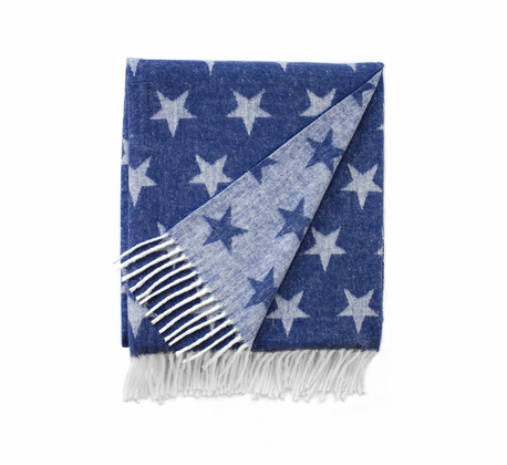 Indigo Dots and Stars Italian Reversible Jacquard Throws