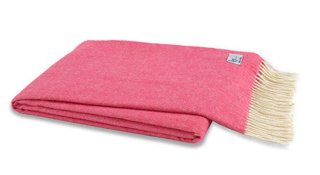 Cosmo Pink Italian Herringbone Throw